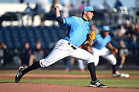 Charlotte Stone Crabs pitcher Jeff Ames (34) delivers a pitch during a game against the Palm Beach Cardinals on April 12, 2014 at Charlotte Sports Park in Port Charlotte, Florida.  Palm Beach defeated Charlotte 6-2.  (Mike Janes/Four Seam Images)