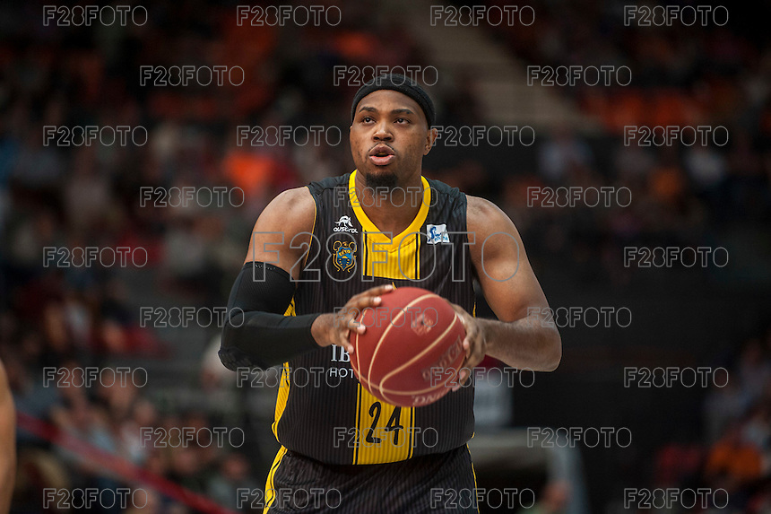 VALENCIA, SPAIN - APRIL 24: Joseph Jones during ENDESA LEAGUE match between Valencia Basket Club and Iberostar Gran Canaria at Fonteta Stadium on April, 2016 in Valencia, Spain