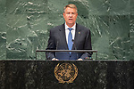 DSG meeting<br /> <br /> AM Plenary General DebateHis<br /> <br /> <br /> His Excellency Klaus Werner Iohannis, President, Romania