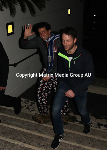 13 JULY 2015 SYDNEY AUSTRALIA<br /> <br /> NON EXCLUSIVE <br /> <br /> Hamish Blake &amp; Andy Lee pictured at the 2Day FM launch party for Hamish &amp; Andy. Andy gets launched out of a canon. <br /> <br /> *No internet without clearance*.<br /> MUST CALL PRIOR TO USE +61 2 9211-1088. Matrix Media Group.Note: All editorial images subject to the following: For editorial use only. Additional clearance required for commercial, wireless, internet or promotional use.Images may not be altered or modified. Matrix Media Group makes no representations or warranties regarding names, trademarks or logos appearing in the images.