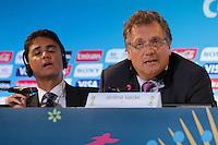 RIO DE JANEIRO, RJ, 27.03.2014 - Jérôme Valcke, secretário-geral da FIFA, e Bebeto, membro do COL, participam da entrevista coletiva posterior à reunião do COL no Estádio do Maracanã. (Foto. Néstor J. Beremblum / Brazil Photo Press)