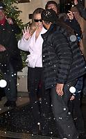 December 8 2017, PARIS FRANCE<br /> Singer Maria Carey leaves in the snow the Plaza Athenee Hotel on Avenue Montaigne Paris. # MARIAH CAREY A PARIS