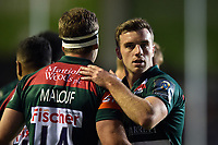 George Ford of Leicester Tigers celebrates a try with team-mate Nick Malouf. European Rugby Champions Cup match, between Leicester Tigers and Castres Olympique on October 21, 2017 at Welford Road in Leicester, England. Photo by: Patrick Khachfe / JMP