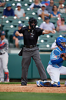 Umpire Blake Carnahan strike three call during an International League game between the Pawtucket Red Sox and Buffalo Bisons on August 25, 2019 at Sahlen Field in Buffalo, New York.  Buffalo defeated Pawtucket 5-4 in 11 innings.  (Mike Janes/Four Seam Images)