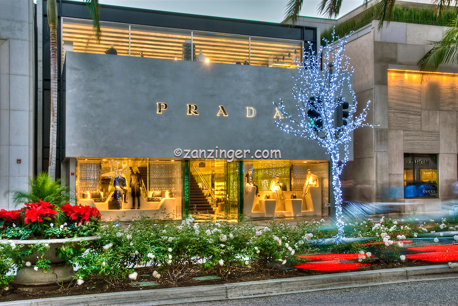 Prada Rodeo Drive, Window Fashion Display, Car Tail lights Streaking, Beverly Hills, CA,