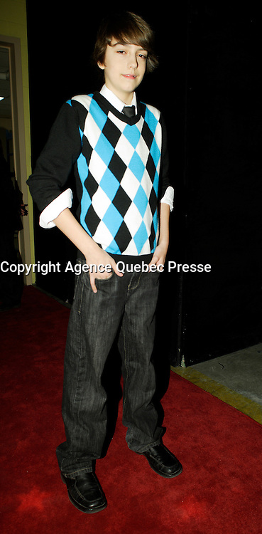 Montreal (Qc) CANADA - March 29 2009 - Jutras award  Gala (for Quebec Cinema) :  Elie Dupuis, actor, Maman est chez le coiffeur (Mommy is at the hairdresser) . Elie Received the opportunity to play piano at the age of 10 years old. It was like a lightning strike launching him into this beautiful adventure. The Piano allowed Elie to recognize and develop his passion for music and the things it brings into his life.<br /> <br /> In February of 2007 he produced a demo completely on his own in composition and lyrics. Te song, &quot;The Furey&quot; was played Coast to Coast in Canada. Since that time the phone has not stopped ringing and Elie has not stopped playing.<br /> <br /> Elie has many opportunities ahead of him and he looks forward to them all.<br /> <br /> French speaking &hellip;lie plays the piano and likes singing. He is also an actor playing the role of Coco in the feature film &quot;Maman est chez le coiffeur&quot; (spring 2008).<br /> <br /> Elie lives in Repetigny near Montreal (Quebec). In summer 2008 he gave 3 concerts there.