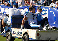 Sept. 17, 2006; San Diego, CA, USA; Tennessee Titans linebacker (51) Robert Reynolds is carted off the field after sustaining an injury against the San Diego Chargers at Qualcomm Stadium in San Diego, CA. Mandatory Credit: Mark J. Rebilas