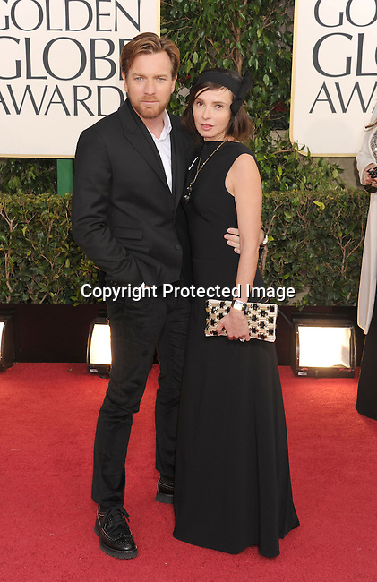 BEVERLY HILLS, CA - JANUARY 13: Ewan McGregor and Eve Mavrakis arrive at the 70th Annual Golden Globe Awards held at The Beverly Hilton Hotel on January 13, 2013 in Beverly Hills, California.