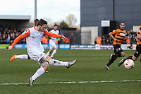 Jack Marriott of Luton Town shoots during the Sky Bet League 2 match between Barnet and Luton Town at The Hive, London, England on 28 March 2016. Photo by David Horn.