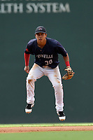 Third baseman Tanner Nishioka (30) of the Greenville Drive plays defense in Game 1 of a doubleheader against the Hickory Crawdads on Wednesday, July 25, 2018, at Fluor Field at the West End in Greenville, South Carolina. Greenville won, 4-1. (Tom Priddy/Four Seam Images)