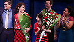 Daniel Messe, Phillipa Soo, Savvy Crawford,  Manoel Felciano and Maria-Christina Oliveras during the Broadway Opening Night Performance Curtain Call for 'Amelie' at the Walter Kerr Theatre on April 3, 2017 in New York City