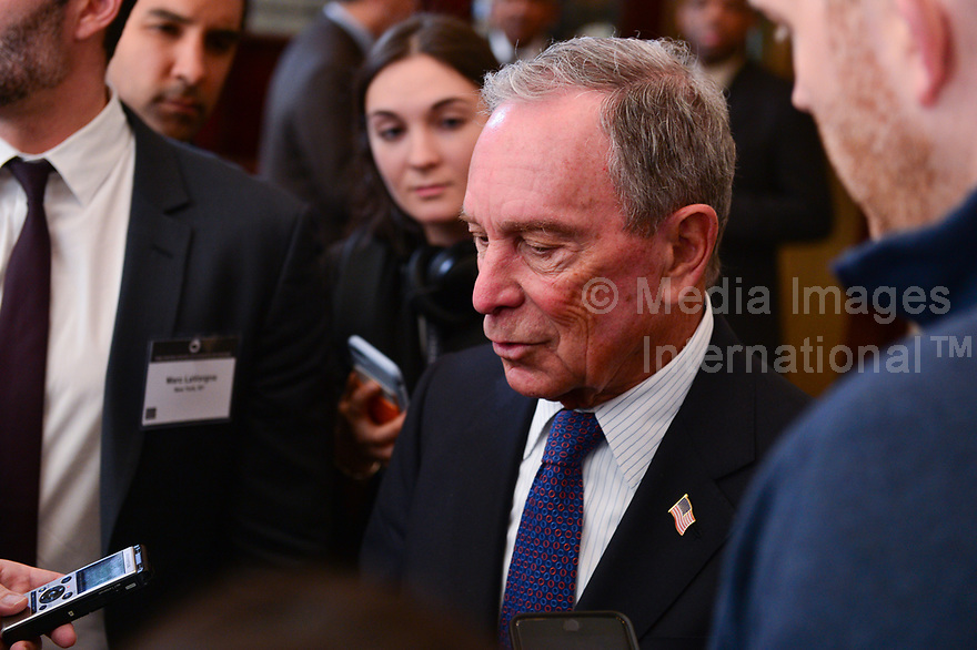 Washington, DC - January 25, 2019: Businessman and former New York City mayor Michael Bloomberg speaks with members of the media after addressing the U.S. Conference of Mayors in Washington, D.C. January 25, 2019.  (Photo by Don Baxter/Media Images International)