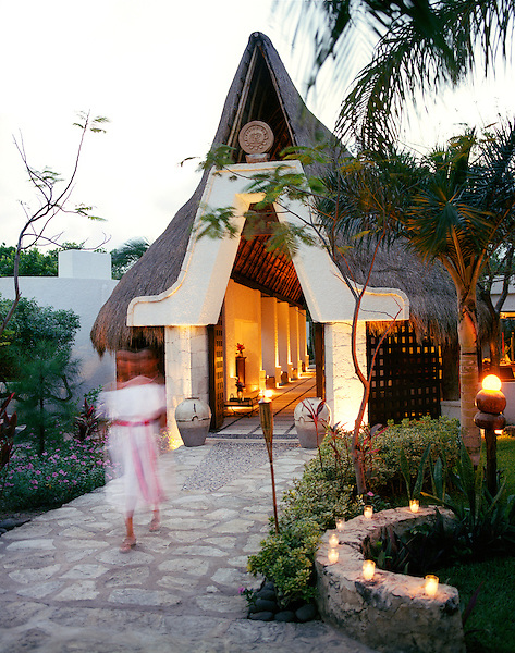RIVIERA MAYA, MEXICO : The entrance to the Kinan Spa at  Maroma Spa and Resort. Many of the treatments offered at Kinan are based on ancient Mayan healing. Maroma is a luxury resort located in the Mexican state of Quintana Roo, on the Mexican Caribbean, at the Riviera Maya. Yucatan Peninsula, Mexico.