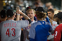 Scottsdale Scorpions first baseman Peter Alonso (20), of the New York Mets organization, is congratulated by Ty Boyles (43) after hitting a home run during an Arizona Fall League game against the Mesa Solar Sox at Sloan Park on October 10, 2018 in Mesa, Arizona. Scottsdale defeated Mesa 10-3. (Zachary Lucy/Four Seam Images)