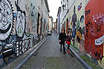 BRUSSELS - BELGIUM - 07 JANUARY 2012 -- Marolles the bohemian city part of Brussels. -- Graffiti on Rue des Chandeliers by rue Haute. -- PHOTO: Juha ROININEN /  EUP-IMAGES