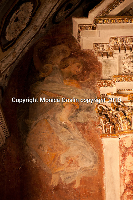 A fresco of an angel in the parish church of Santa Maria del Sasso in Morcote, a town on Lake Lugano, Switzerland. The parish church of Santa Maria del Sasso in Morcote has frescos dating from the 16th and 17th centuries.