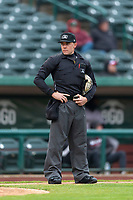 Home plate umpire Bobby Tassone during a Midwest League game between the Kane County Cougars and Fort Wayne TinCaps at Parkview Field on April 30, 2019 in Fort Wayne, Indiana. Kane County defeated Fort Wayne 7-4. (Zachary Lucy/Four Seam Images)