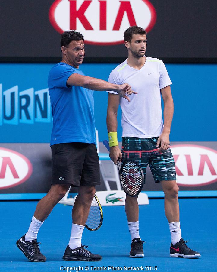Roger Rasheed and Grigor Dimitrov (BUL)<br /> <br /> Tennis - Australian Open 2015 - Grand Slam ATP / WTA -  Melbourne Olympic Park - Melbourne - Victoria - Australia  - 25 January 2015.