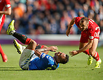 28.09.2018 Rangers v Aberdeen: Niall McGinn lunges in on Alfredo Morelos