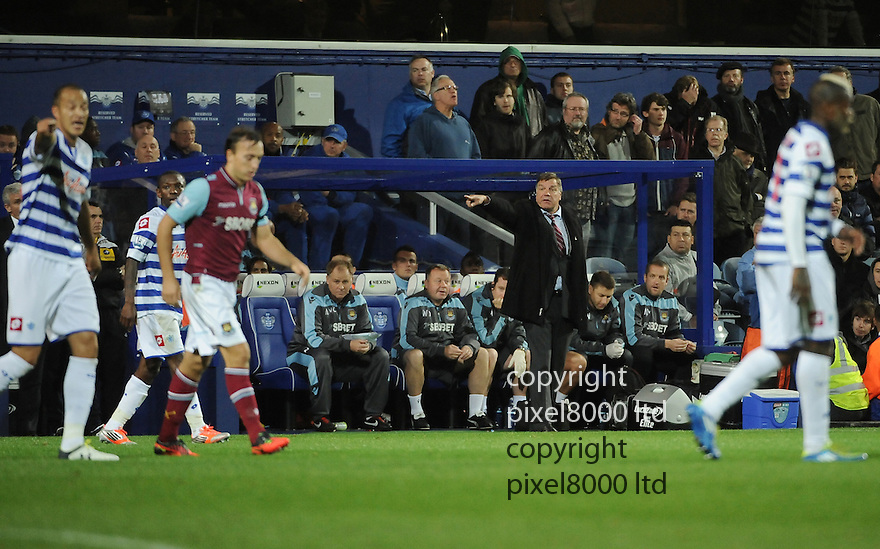West Ham United manager Sam Allardyce in action during the Barclays Premier League match between West Ham United and Queens Park Rangers at Loftus Road on Monday ,01 October 2012 in London, England. Picture Zed Jameson/pixel 8000 ltd