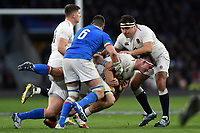 Tom Curry of England is tackled. Guinness Six Nations match between England and Italy on March 9, 2019 at Twickenham Stadium in London, England. Photo by: Patrick Khachfe / Onside Images