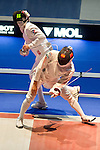 (L-R) Pavel Sukhov (RUS), Kazuyasu Minobe (JPN),<br /> AUGUST 8, 2013 - Fencing :<br /> World Fencing Championships Budapest 2013, Men's Individual Epee Round of 32 at Syma Hall in Budapest, Hungary. (Photo by Enrico Calderoni/AFLO SPORT) [0391]