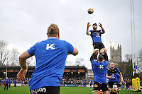 Guy Mercer of Bath Rugby looks to win the ball at a lineout during the pre-match warm-up. Aviva Premiership match, between Bath Rugby and Worcester Warriors on December 27, 2015 at the Recreation Ground in Bath, England. Photo by: Patrick Khachfe / Onside Images