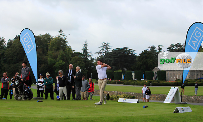 Peter McKeever (Castle) on the 1st tee during the AIG Senior Cup Final at Carton House Golf Club during the AIG Cups &amp; Shields All Ireland Finals on Saturday 17/09/16.<br /> Picture: Thos Caffrey | Golffile<br /> <br /> All photos usage must carry mandatory copyright credit   (&copy; Golffile | Thos Caffrey)