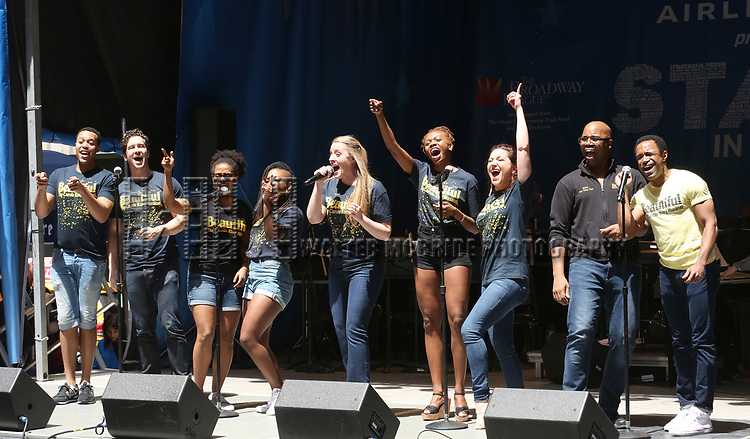 Abby Mueller and the cast of 'Beautiful' backstage at United Airlines Presents #StarsInTheAlley free outdoor concert in Shubert Alley on 6/2/2017 in New York City.