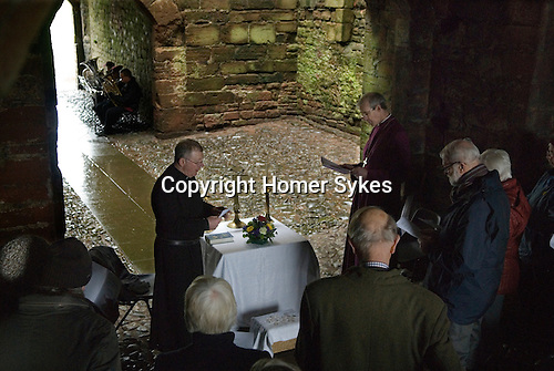 The Lady Anne Clifford Dole Ceremony Brougham Castle, Cumbria 2016.  Four hundredth anniversary of the dole ceremony. The Rev Alan Maguire and the Bishop of Carlisle James Newcome.