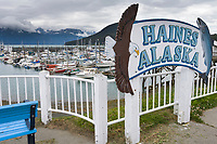 Haines Alaska, town harbor sign.