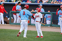 Peoria Chiefs right fielder Wadye Ynfante (3) is congratulated by the bat boy after hitting a home run during a Midwest League game against the Bowling Green Hot Rods at Dozer Park on May 5, 2019 in Peoria, Illinois. Peoria defeated Bowling Green 11-3. (Zachary Lucy/Four Seam Images)