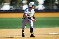 Aaron Bossi (17) of the Marshall Thundering Herd takes his lead off of second base against the Georgetown Hoyas at Wake Forest Baseball Park on February 15, 2014 in Winston-Salem, North Carolina.  The Thundering Herd defeated the Hoyas 5-1.  (Brian Westerholt/Four Seam Images)