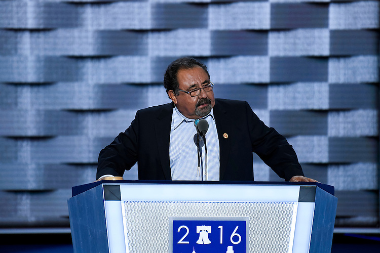 UNITED STATES - JULY 25: Rep. Raul Grijalva, D-Ariz., speaks at the Democratic National Convention in Philadelphia on Monday, July 25, 2016. (Photo By Bill Clark/CQ Roll Call)