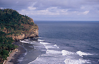 Waves breaking on the rugged Costa del Balsamo in western El Salvador, Central America