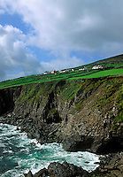 Farm houses overlooking the sea, County Kerry, Ireland