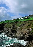 Farm houses overlooking the sea, County Kerry, Ireland