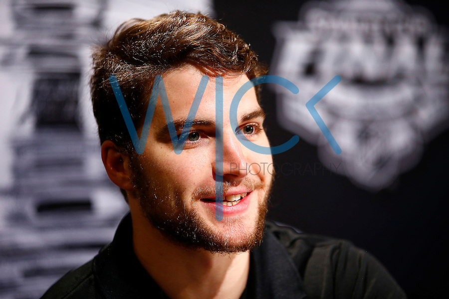 Conor Sheary #43 of the Pittsburgh Penguins speaks during media day prior to the start of the Stanley Cup Final series between the Pittsburgh Penguins and the San Jose Sharks at Consol Energy Center in Pittsburgh, Pennslyvania on May 29, 2016. (Photo by Jared Wickerham / DKPS)
