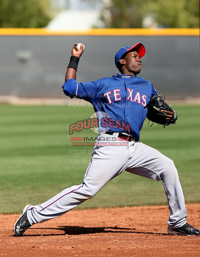 Jurickson Profar of the Texas Rangers plays in a minor league spring training game against the Kansas City Royals at the Rangers minor league complex, on March 22, 2011  in Surprise, Arizona. .Photo by:  Bill Mitchell/Four Seam Images.