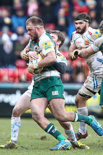 06.03.2016. Welford Road, Leicester, England. Aviva Premiership. Leicester Tigers versus Exeter Chiefs.  Tigers Lachlan McCaffrey on the charge.