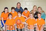 Ballyheigue basketballers at the KDYS county finals in Killarney on Sunday front row l-r: Kirby Kissane, Natasha Regan, Meagan O'Connor, Brian O'Riordan. Back row: Sarah Corridon, Tony Hussey, Christopher Heffernan, Michael Leen, Caroline Corridon and Fiona Hussey............