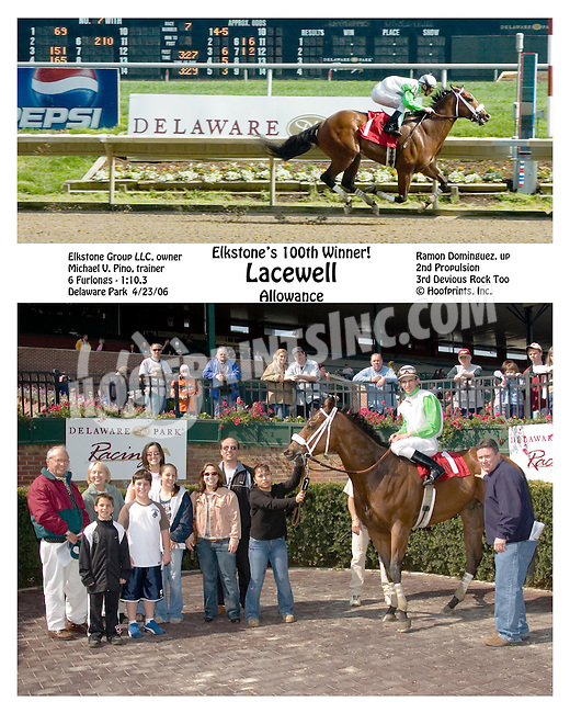 Lacewell winning at Delaware Park on 4/23/2006