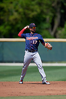 Minnesota Twins Estamy Urena (17) during a Minor League Spring Training game against the Baltimore Orioles on March 25, 2019 at the Buck O'Neil Baseball Complex in Sarasota, Florida.  (Mike Janes/Four Seam Images)