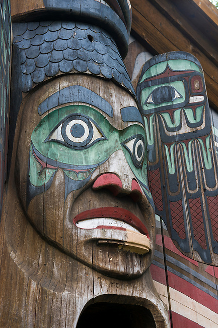 Detail of the clan house at the Totem Bight State Historical Park in Ketchikan, Southeast Alaska, USA.