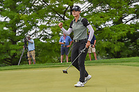 Sung Hyun Park (KOR) sinks her long birdie putt to go to a second playoff hole at 16 folloiwng round 4 of the 2018 KPMG Women's PGA Championship, Kemper Lakes Golf Club, at Kildeer, Illinois, USA. 7/1/2018.<br /> Picture: Golffile | Ken Murray<br /> <br /> All photo usage must carry mandatory copyright credit (&copy; Golffile | Ken Murray)