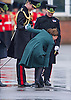 """KATE COMES A CROPPER.The Duchess of Cambridge, had an unfortunate incident at the St. Patrick's Day Parade..While stepping back after presenting the shamrock sprigs her heel go stuck in the grate of the drain..Fortunately she was able to free it and continue..CATHERINE, DUCHESS OF CAMBRIDGE_AND PRINCE WILLIAM.attend the St. Patrick's Day Parade at Mons Barracks, Aldershot_17/03/2013.Prince William attended as Colonel of the Regiment while Kate presented the traditional sprgs of shamrock to the Officers and Guardsmen.Mandatory credit photo:©Dias/NEWSPIX INTERNATIONAL..**ALL FEES PAYABLE TO: """"NEWSPIX INTERNATIONAL""""**..PHOTO CREDIT MANDATORY!!: NEWSPIX INTERNATIONAL(Failure to credit will incur a surcharge of 100% of reproduction fees)..IMMEDIATE CONFIRMATION OF USAGE REQUIRED:.Newspix International, 31 Chinnery Hill, Bishop's Stortford, ENGLAND CM23 3PS.Tel:+441279 324672  ; Fax: +441279656877.Mobile:  0777568 1153.e-mail: info@newspixinternational.co.uk"""