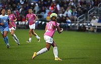 Kansas City, MO - Friday May 13, 2016: FC Kansas City forward Frances Silva (11) clears the ball against the Chicago Red Stars during a regular season National Women's Soccer League (NWSL) match at Swope Soccer Village. The match ended 0-0.