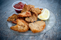 Rocky Mountain Oysters, or bull testicles, at the Little Bear Inn restaurant, located just outside Cheyenne, Wyoming, Thursday, June 2, 2011. The restaurant is decorated in a 1960s style and serves a good selection of meats including buffalo...Photo by Matt Nager