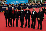Claude Lelouch, Costa Gavras, Marie-Claude Pietragalla, Vincent Lindon, Jean-Pierre Jeunet, Pierre Lescure and Andre Techiné pose on the red carpet before the opening ceremony of the 40th Deauville's US Film Festival on September 5, 2014