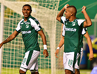 PALMASECA-COLOMBIA,09 -09-2018.Macnelly Torres  jugador del Deportivo Cali celebra su gol contra  Equidad durante partido por la fecha 9 de la Liga Águila II 2018 jugado en el estadio Deportivo Cali de la ciudad de Palmira./ Macnelly Torres player of Deportivo Cali  celebrates his goal agaisnt  of Equidad during the match for the date 9 of the Aguila League II 2018 played at Alfonso Lopez  stadium in Palmaseca city. Photo: VizzorImage/ Nelson Rios / Contribuidor